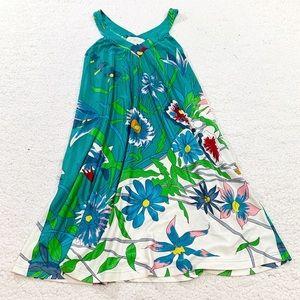 Julie brown floral vneck shirt dress sleeveless